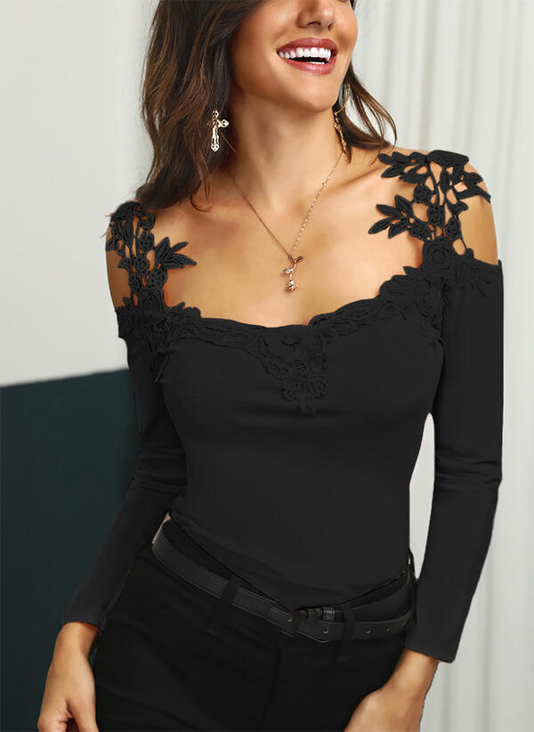 Solid Lace Cold Shoulder Long Sleeves Sexy Blouses