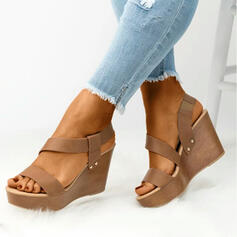 Women's PU Wedge Heel Platform Wedges Peep Toe With Solid Color shoes