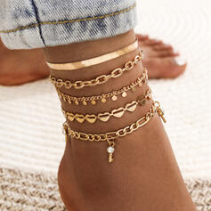 Link & Chain Layered Alloy Anklets (Set of 5)
