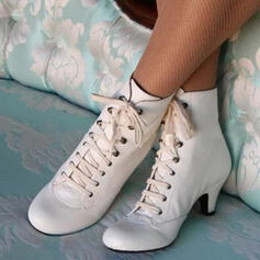 Women's PU Kitten Heel Boots With Lace-up shoes