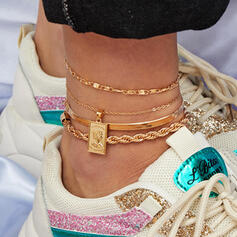 Stylish Charming Alloy Anklets (Set of 4 pairs)