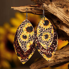 Colourful Boho Sunflower Alloy Leather Earrings 2 PCS