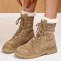 Women's PU Flat Heel Ankle Boots Snow Boots Martin Boots Round Toe Winter Boots With Buckle Lace-up shoes
