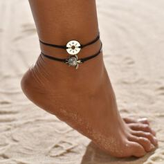 Simple Alloy Braided Rope With Tortoise Coin Beach Jewelry Anklets (Set of 2)