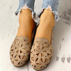 Women's Suede Flat Heel Flats Closed Toe Round Toe With Hollow-out shoes