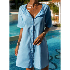 Solid Color U-Neck Casual Cover-ups Swimsuits