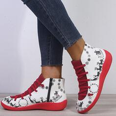 Women's PU Low Heel Ankle Boots Round Toe With Animal Print Lace-up Splice Color Breathable shoes