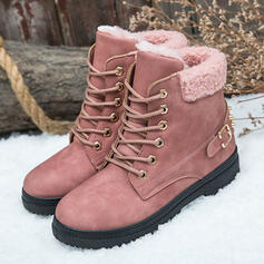 Women's PU Low Heel Ankle Boots Snow Boots Round Toe Winter Boots With Buckle Lace-up shoes
