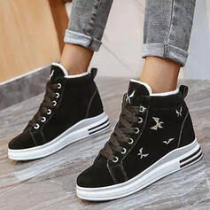 Women's Suede Wedge Heel Ankle Boots Snow Boots Round Toe Winter Boots With Lace-up shoes