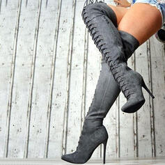 Women's Suede Stiletto Heel Over The Knee Boots Pointed Toe With Zipper Lace-up shoes
