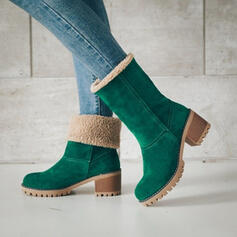 Women's Suede Chunky Heel Mid-Calf Boots Winter Boots With Others shoes
