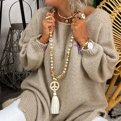 Stylish Boho Natural Stone Crystal Cotton String Wooden Beads With Tassels Beads Necklaces
