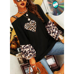 Print Leopard Heart One-Shoulder Long Sleeves Casual Knit Blouses