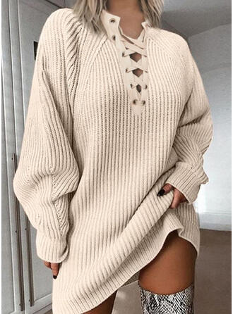 Solid Chunky knit V-Neck Casual Long Sweater Dress