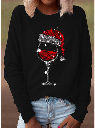 Sequins Round Neck Long Sleeves Casual Christmas T-shirts