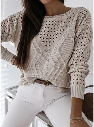 Solid Hollow-out Round Neck Casual Sweaters