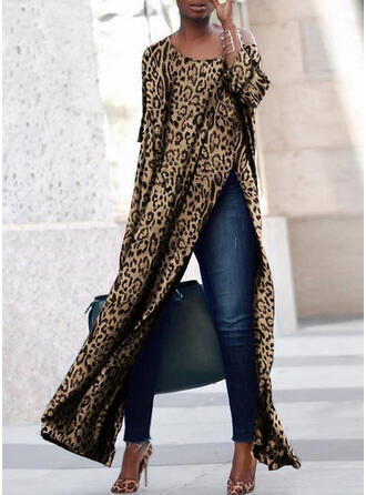 Leopard Long Sleeves Shift Casual Maxi Dresses