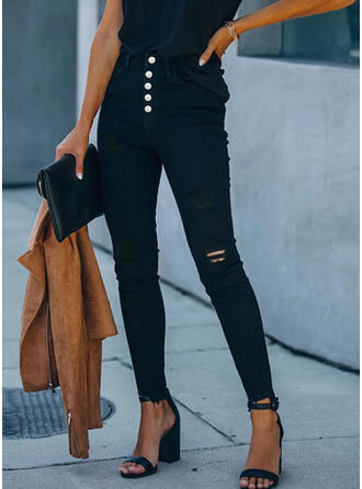 Solid Plus Size Ripped Sexy Skinny Pants
