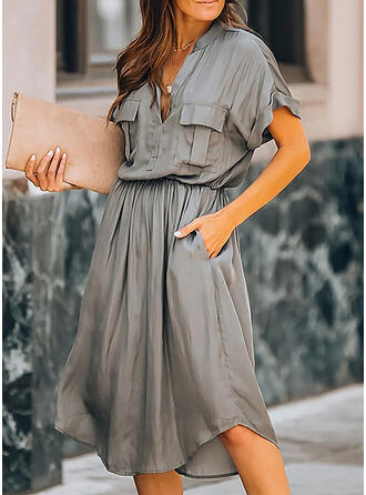 Solid Short Sleeves A-line Skater Little Black/Casual/Elegant Midi Dresses