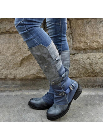 Women's PU Chunky Heel Mid-Calf Boots Round Toe Riding Boots With Buckle Zipper Lace-up shoes