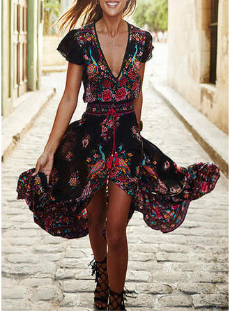 Print/Floral Short Sleeves A-line Skater Boho/Vacation Maxi Dresses