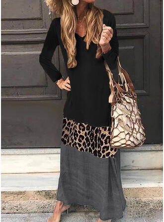 Print/Color Block/Leopard Long Sleeves Shift Casual Maxi Dresses
