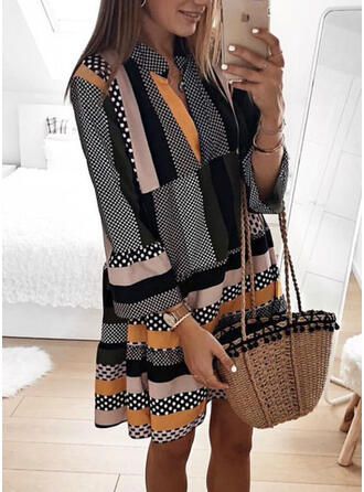 PolkaDot/Striped Long Sleeves/Flare Sleeves Shift Knee Length Casual Tunic Dresses