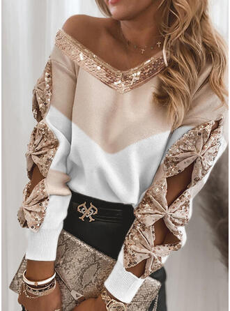 Color Block Sequins V-Neck Casual Sweaters