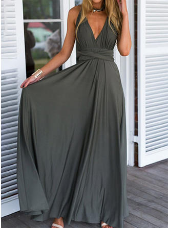 Solid/Backless Sleeveless A-line Skater Sexy/Party Maxi Dresses