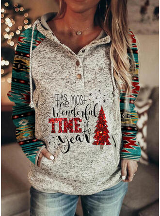 Print Sequins Figure Pockets Long Sleeves Christmas Sweatshirt
