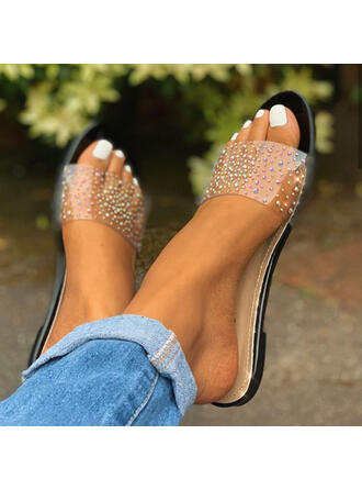 Women's PVC Flat Heel Sandals Flats Slippers With Sequin shoes