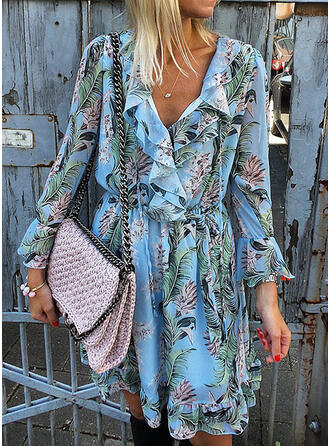 Print/Floral Long Sleeves/Flare Sleeves A-line Above Knee Casual/Vacation Skater Dresses