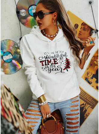 Print Grid Figure Pockets Long Sleeves Christmas Sweatshirt