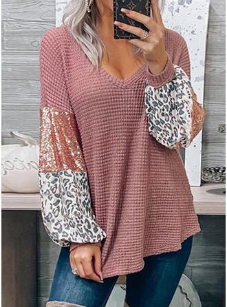 Sequins Leopard V-Neck Long Sleeves Casual Knit Blouses