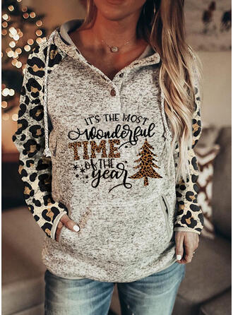 Leopard Figure Pockets Long Sleeves Christmas Sweatshirt