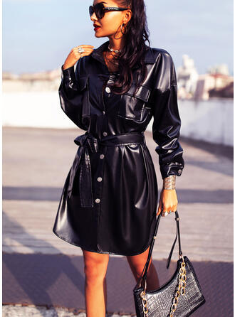 Solid Long Sleeves Sheath Above Knee Little Black/Casual Shirt Dresses