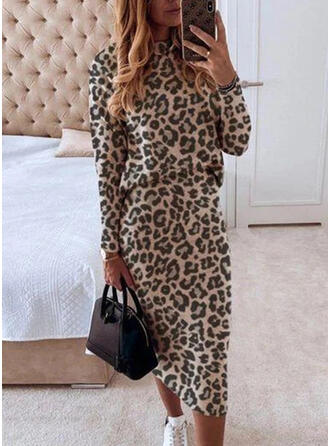 Leopard Long Sleeves Bodycon Pencil Elegant Midi Dresses
