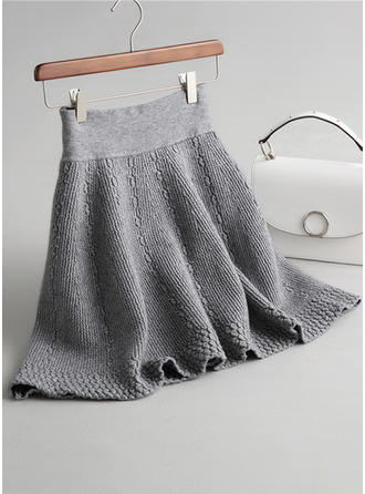 Knitting Plain Above Knee A-Line Skirts
