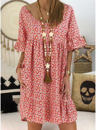 Print/Floral 1/2 Sleeves Shift Knee Length Casual Dresses