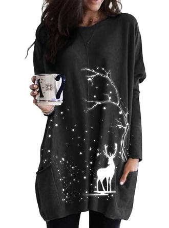 Animal Print Pockets Round Neck Long Sleeves Christmas Sweatshirt