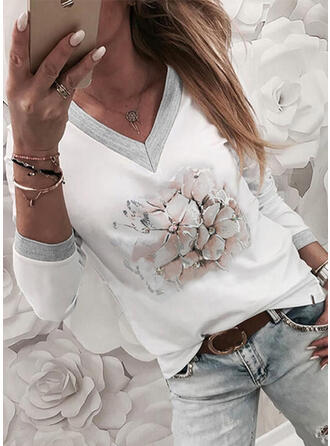 Print Floral V-Neck Long Sleeves Casual T-shirts