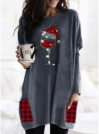 Grid Sequins Pockets Round Neck Long Sleeves Christmas Sweatshirt