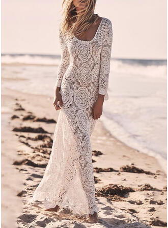 Lace/Solid 3/4 Sleeves Sheath Casual/Vacation Maxi Dresses