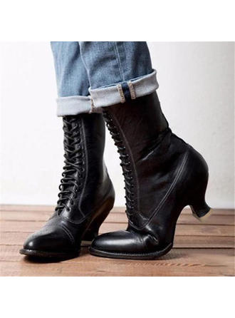 Women's PU Chunky Heel Boots With Lace-up shoes
