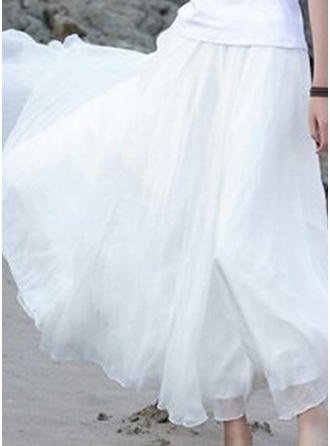 Chiffon Plain Floor-Length A-Line Skirts