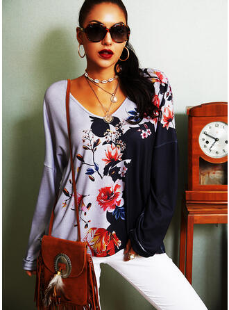 Color Block Floral Print V-Neck Long Sleeves T-shirts