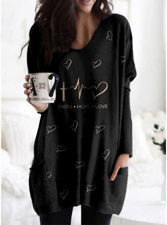 Print Figure Heart Pockets Round Neck Long Sleeves Sweatshirt