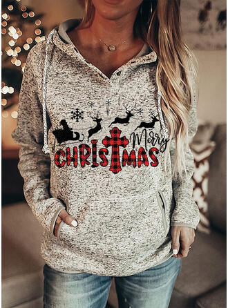 Animal Print Grid Figure Pockets Long Sleeves Christmas Sweatshirt