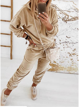 Solid Shirred Drawstring Casual Sporty Suits