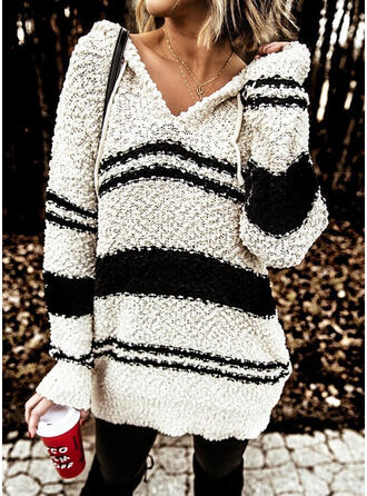 Striped Hooded Casual Sweaters